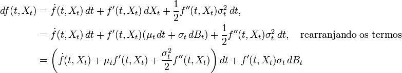 \begin{align} df(t,X_t)&=\dot{f}(t,X_t)\,dt+f'(t,X_t)\,dX_t+\frac{1}{2}f''(t,X_t)\sigma^2_t\,dt,\\ &=\dot{f}(t,X_t)\,dt+f'(t,X_t)(\mu_t\,dt + \sigma_t\,dB_t)+\frac{1}{2}f''(t,X_t)\sigma^2_t\,dt,\quad\mbox{rearranjando os termos}\\ &=\left(\dot{f}(t,X_t)+\mu_tf'(t,X_t)+\frac{\sigma_t^2}{2}f''(t,X_t)\right)dt+f'(t,X_t)\sigma_t\,dB_t \end{align}