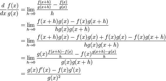 F X H F X H Calculus: \begin{align}\frac{d}{dx} \frac{f(x)}{g(x)} &= \lim_{h \to ...