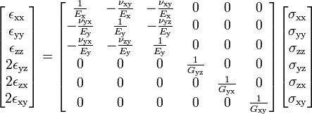 \begin{bmatrix}     \epsilon_{{\rm xx}} \\ \epsilon_{\rm yy} \\ \epsilon_{\rm zz} \\ 2\epsilon_{\rm yz} \\ 2\epsilon_{\rm zx} \\ 2\epsilon_{\rm xy}   \end{bmatrix}   = \begin{bmatrix}     \tfrac{1}{E_{\rm x}} & - \tfrac{\nu_{\rm xy}}{E_{\rm x}} & - \tfrac{\nu_{\rm xy}}{E_{\rm x}} & 0 & 0 & 0 \\     -\tfrac{\nu_{\rm yx}}{E_{\rm y}} & \tfrac{1}{E_{\rm y}} & - \tfrac{\nu_{\rm yz}}{E_{\rm y}} & 0 & 0 & 0 \\     -\tfrac{\nu_{\rm yx}}{E_{\rm y}} & - \tfrac{\nu_{\rm zy}}{E_{\rm y}} & \tfrac{1}{E_{\rm y}} & 0 & 0 & 0 \\     0 & 0 & 0 & \tfrac{1}{G_{\rm yz}} & 0 & 0 \\     0 & 0 & 0 & 0 & \tfrac{1}{G_{\rm yx}} & 0 \\     0 & 0 & 0 & 0 & 0 & \tfrac{1}{G_{\rm xy}} \\     \end{bmatrix}   \begin{bmatrix}     \sigma_{\rm xx} \\ \sigma_{\rm yy} \\ \sigma_{\rm zz} \\ \sigma_{\rm yz} \\ \sigma_{\rm zx} \\ \sigma_{\rm xy}   \end{bmatrix}