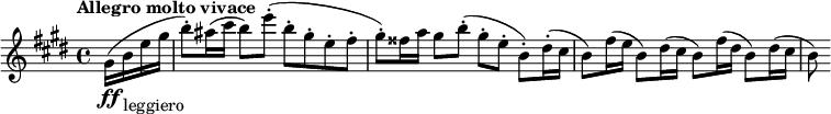 "\relative c'' {\set Score.tempoHideNote = ##t \tempo ""Allegro molto vivace"" 2 = 80 \key e \major \time 4/4 \partial 4 gis16\ff( b_""leggiero"" e gis b8-.) ais16( cis b8) e-.( b-. gis-. e-. fis-. gis-.) fisis16 a gis8 b-.( gis-. e-. b-.) dis16-.( cis b8) fis'16(e b8) dis16( cis b8) fis'16(dis b8) dis16( cis b8)}"