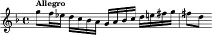 "\relative c''' {         \set Staff.midiInstrument = #""violin""         \set Score.tempoHideNote = ##t \tempo 4 = 120         \key g \dorian         \time 4/4          g8^\markup \bold ""Allegro""         f16 es d c bes a g a bes c d e fis g         fis8[ d]     }"
