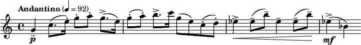 "\relative c'' { \clef treble \time 4/4 \set Staff.midiInstrument = #""violin"" \tempo ""Andantino"" 4=92 g4\p-- c8.( e16-.) g8-.[ a-.] g8.->( e16)   g8-.( a-.) b8.-> c16 g8( e) c-.( d-.)   ees4->\< ees8--( b'--) ees,4-- ees8--( b'--)\!   ees,4->\mf( bes) }"