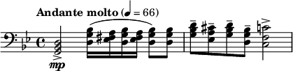 ""\relative c { clef bass time 4/4 set Staff.midiInstrument = #""""french horn"""" tempo """"Andante molto"""" 4=66 key bes major <d bes g>2->mp <bes' g d>16( <a fis ees> <bes g d> <a fis ees> <bes g d>8) <bes g d>   <d bes g>-- <cis a ees>-- <d bes g>-- <bes g d>-- <c f, c>2->  }""419|102|?|en|2|8cedb3962e274efac2068594c225a916|False|NSFW|0.3093425929546356