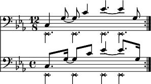 "{        \relative c, <<         \new Staff <<            \new voice {               \clef bass \time 12/8 \key c \minor               \set Score.tempoHideNote = ##t \tempo 4 = 100                     \stemDown \override NoteHead.style = #'cross \repeat volta 2 { es4. es es es }        }           \new voice {               \set Score.tempoHideNote = ##t \tempo 4 = 100                    \time 12/8               \stemUp \repeat volta 2 { c'4 g'8~ g c4 es4.~ es4 g,8 } \bar "": .""        } >>        \new Staff <<           \new voice {               \clef bass \time 12/8 \key c \minor               \set Staff.timeSignatureFraction = 4/4               \scaleDurations 3/2 {                   \set Score.tempoHideNote = ##t \tempo 8 = 100                         \stemDown \override NoteHead.style = #'cross \repeat volta 2 { es,4 es es es }               }        }           \new voice \relative c' {               \time 12/8               \set Staff.timeSignatureFraction = 4/4               \scaleDurations 3/2 {                   \set Score.tempoHideNote = ##t \tempo 4 = 100                        \stemUp \repeat volta 2 { c,8. g'16~ g8 c es4~ es8. g,16 } \bar "": .""               }        } >>   >> }"