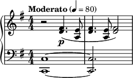 "{ \new PianoStaff << \new Staff \relative c' { \clef treble \numericTimeSignature \time 4/4 \key g \major \tempo ""Moderato"" 4 = 80 r2 <fis d>4.\p( <e a,>8 | <fis d>4. <e a,>8 <fis d>2) } \new Staff \relative c { \clef bass \key g \major \numericTimeSignature \time 4/4 <c c,>1~ | <c c,>2. s4 } >> }"
