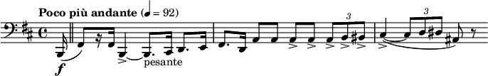 "\relative c { \clef bass \time 4/4 \set Staff.midiInstrument = #""bassoon""  \tempo ""Poco più andante"" 4=92 \key b \minor \partial 16*1 b,16\f( \bar ""  "" fis'8)[ r16 fis] b,4->~ b8._""pesante"" cis16 d8. e16   fis8. d16 a'8 a a-> a-> \times 2/3 { a-> b-> bis-> }   cis4->~( \times 2/3 { cis8 d dis } ais) r }"