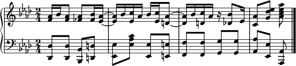 """{    \new PianoStaff <<       \new Staff <<          \new Voice \relative c' {              \clef treble \key aes \major \time 2/4              <f aes>16 bes <f aes>8 <fes aes> <fes bes>16 <es aes>~              <es aes> bes' <es, c'> aes bes <es, c'> <d aes'>8~              <d aes'>16 bes' <d, c'> aes' r <des, bes'>8 es16              <c aes'>8 <g' des' es> <aes c es aes>              }             >>      \new Staff <<          \relative c, {              \clef bass \key aes \major \time 2/4              <des des'>8 <des des'> <bes bes'> <d d'>              <es es'> <es' aes c> <es, es'> <e e'>              <f f'> <f f'> <g g'> <g g'> <aes aes'> <es es'> <aes, aes'> \bar """" .""""              }          >>     >> }"""