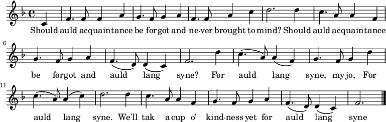""\relative c' { set Staff.midiInstrument = #""""bagpipe"""" key f major time 4/4 partial 4 c4  f4. f8 f4 a4 | g4. f8 g4 a4 | f4. f8 a4 c4 | d2. d4 | c4. a8 a4 f4 | g4. f8 g4 a4 | f4.( d8) d4( c4) | f2. d'4 | c4.( a8) a4( f4) | g4. f8 g4 d'4 | c4.( a8) a4( c4) | d2. d4 | c4. a8 a4 f4 | g4. f8 g4 a4 | f4.( d8) d4( c4) | f2. \bar """