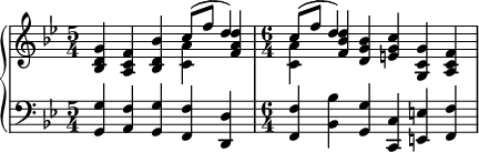 { #(set-global-staff-size 18)       \new PianoStaff <<         \new Staff <<             \new voice \relative c'' {                 \set Score.tempoHideNote = ##t \tempo 4 = 112                 \clef treble \key bes \major  \time 5/4 <bes, d g>4 <a c f> <bes d bes'> \stemDown <c a'> \stemNeutral <f a d> \time 6/4 \stemDown <c a'> \stemNeutral <f bes d> <d g bes> <e g c> <g, c g'> <a c f> } \new Voice \relative c'' { \time 5/4 s2. \stemUp c8^( f d4) \time 6/4 \stemUp c8^( f d4) s1                 }             >>         \new Staff << \clef bass \key bes \major              \relative c { \time 5/4 <g g'>4 <a f'> <g g'> <f f'> <d d'>                 \time 6/4 <f f'> <bes bes'> <g g'> <c, c'> <e e'> <f f'> }             >>     >> }