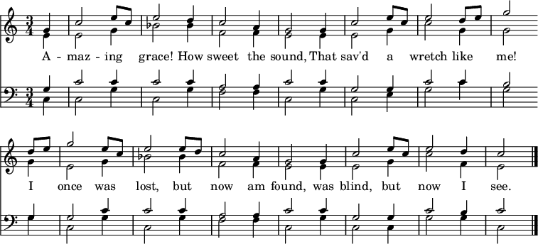 """<< << \new Staff { \clef treble \time 3/4 \partial 4 \key c \major \set Staff.midiInstrument = """"piano""""   \set Score.tempoHideNote = ##t \override Score.BarNumber #'transparent = ##t   \relative c''   << { g4 