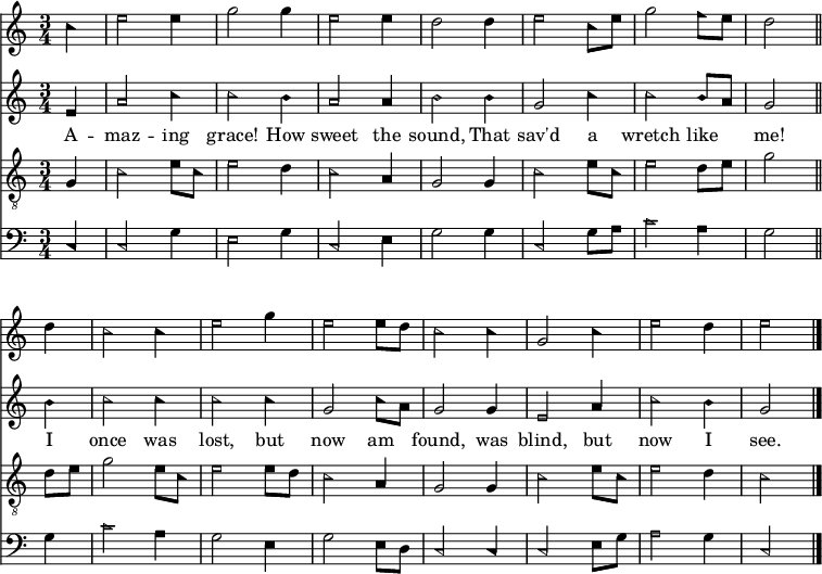 """<< << \new Staff { \clef treble \time 3/4 \partial 4 \key c \major \set Staff.midiInstrument = """"flute"""" %sopran   \set Score.tempoHideNote = ##t \override Score.BarNumber #'transparent = ##t   \relative c'' { \sacredHarpHeads   c4 