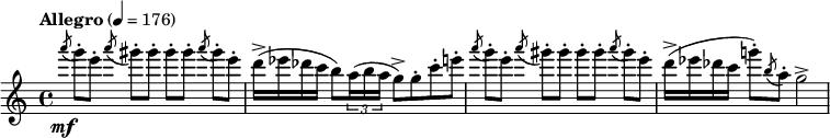 "\relative c''''  { \clef treble \time 4/4 \set Staff.midiInstrument = #""flute""  \tempo ""Allegro"" 4=176 \slashedGrace a8\mf( g8-.)[ e-.] \slashedGrace a( gis-.)[ gis-.] gis-.[ gis-.] \slashedGrace a( gis-.)[ e-.]   d16->( ees des c b8) \times 2/3 {a16( b a } g8->) g-. c-. e-.   \slashedGrace a8( g8-.)[ e-.] \slashedGrace a( gis-.)[ gis-.] gis-.[ gis-.] \slashedGrace a( gis-.)[ e-.]   d16->( ees des c g'!8-.) \slashedGrace b,( a-.) g2-> }"