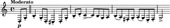 "\relative c { \clef treble \time 4/4 \set Staff.midiInstrument = #""clarinet""  \tempo ""Moderato"" \partial 4*1 d8-.\p g-. \bar ""  "" b4-. g8-. d-. cis4-. d8-. g-.   b-. d-. c4->~ c8 b g a   b( a) fis-. g-. a( g) e-. fis-.   g2-> }"
