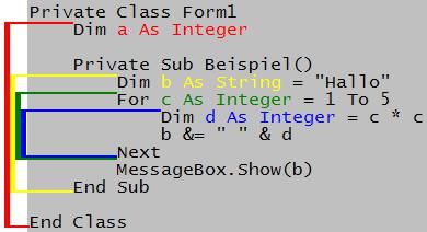 achtung im codebeispiel rechts fehlt die sonst bei uns bliche form1_load funktion die farbigen markierungen links zeigen die lebensdauer der variable an - Visual Basic Beispiele