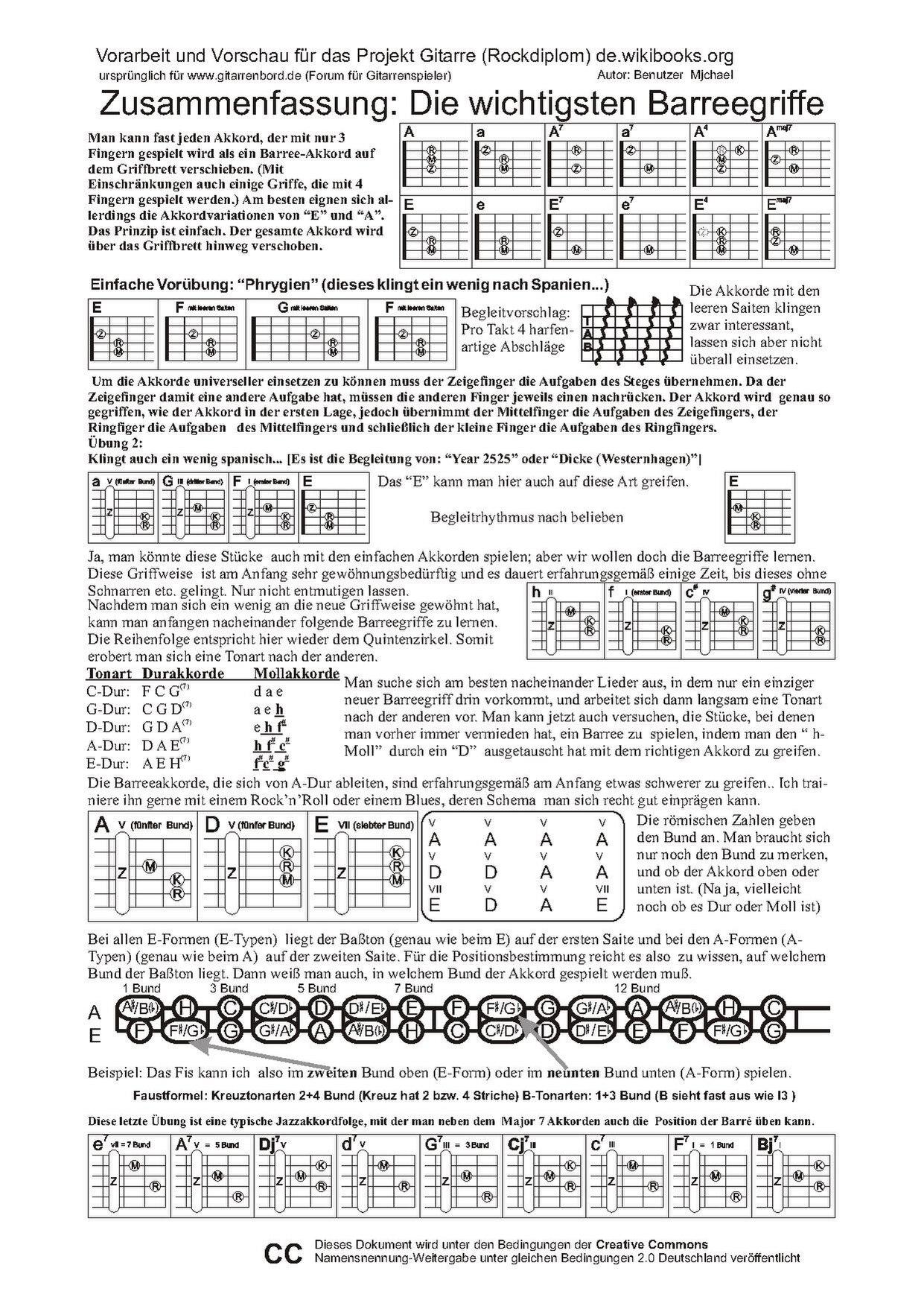 Dateizusammenfassung Barreeakkordepdf Wikibooks Sammlung Freier