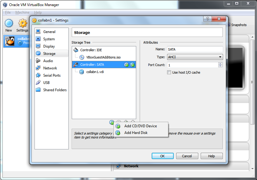 Virtualbox 4: Create Shared Storage - Add Hard Disk