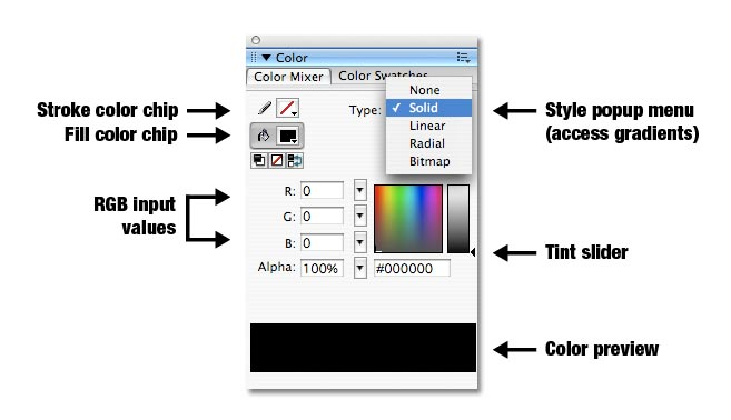 Beginner's Guide to Adobe Flash/Color/Color Mixer