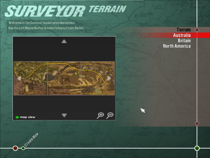 Trainz 1.0's original three routes in surveyor menu.