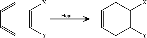 A substituated dienophile reacts to form a product with the same substituents.