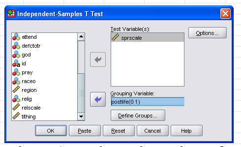 independent sample t test Performing the independent samples t-test in jasp the input to perform the two-sample -test in jasp, load the data file and go to the common analysis tab, select t-tests and then select the independent samples t-test the dependent variable is the (continuous) variable we want to test, in this case the drp scores.