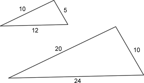 (Two similar triangles, with side lengths written in)