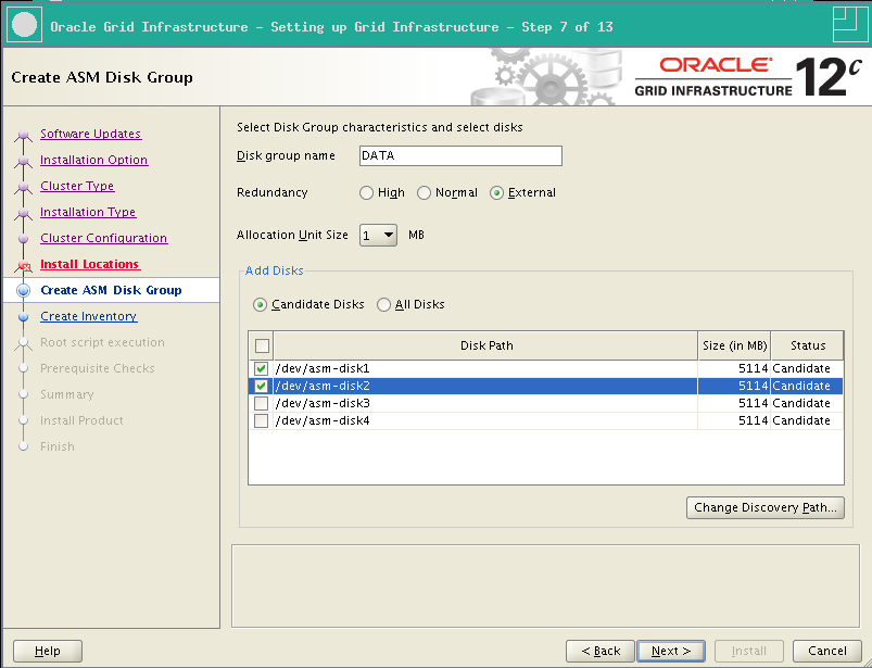 RA-Oracle_GI_12101-Install-Create ASM Diskgroup disks