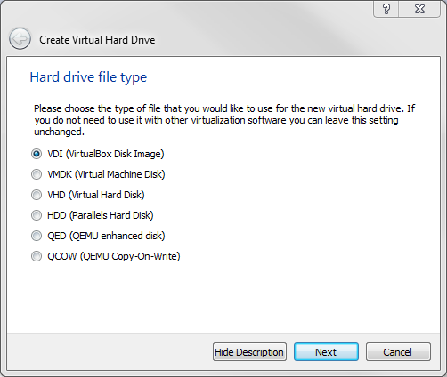 Virtualbox 4: Clone Disk - HD type