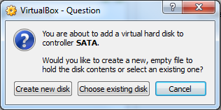 VirtualBox New VM Settings - Choose existing disk