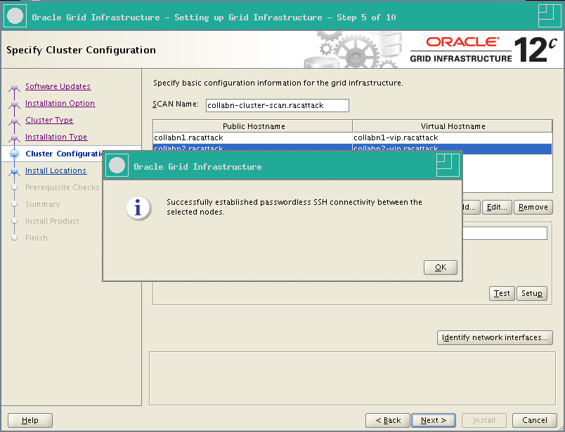 RA-Oracle_GI_12101-Install-SSH connectivity OK