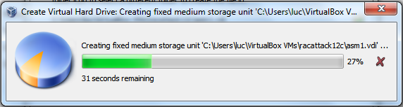 Virtualbox 4: Create Shared Storage - Creation in progress