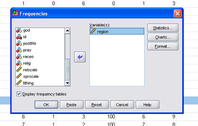 how to create a frequency table in spss