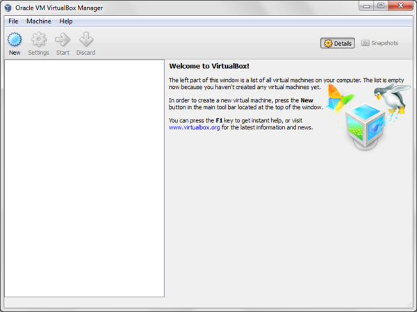 VirtualBox Manager Home