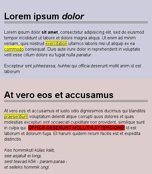 Text Decoration Italic: CSS/Valikuline Selekteerimine