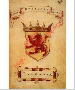 Bulgária címere az Illír címerkönyv Korenič-Neorič példányából, Folio 12 (1595)