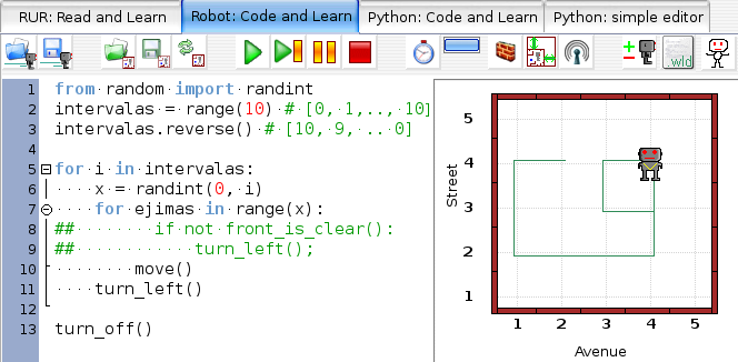Python mokymosi aplinka(RUR-PLE)