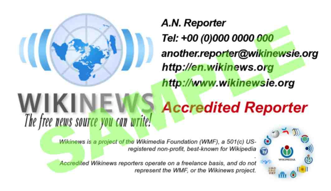 Sample Wikinews reporters' business card