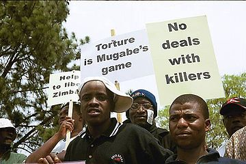 Protesters in Zimbabwe
