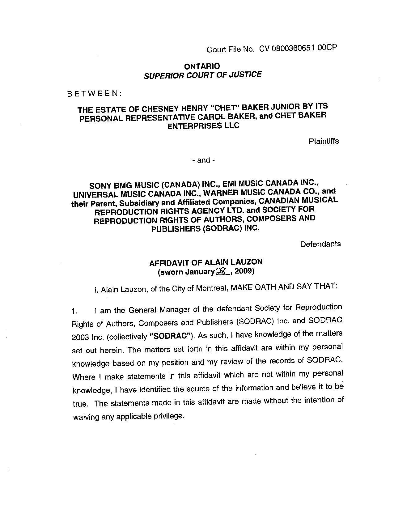 File:Affidavit Of Alain Lauzon Sworn January 28, 2009.PDF