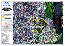 Brazzaville munitions depot explosion as of March 14, 2012. The map shows  the extent of the exclusion zone, the redzone checkpoint and 1km radius  from ...