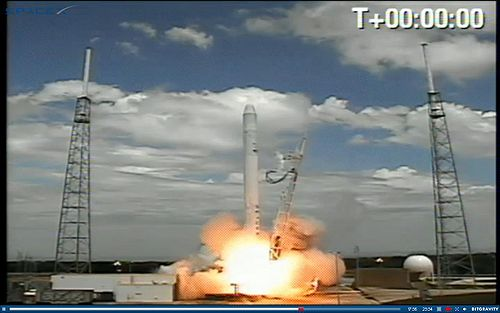 The rocket during takeoff