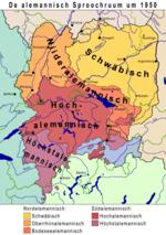 de alemannisch Sproochruum um 1950