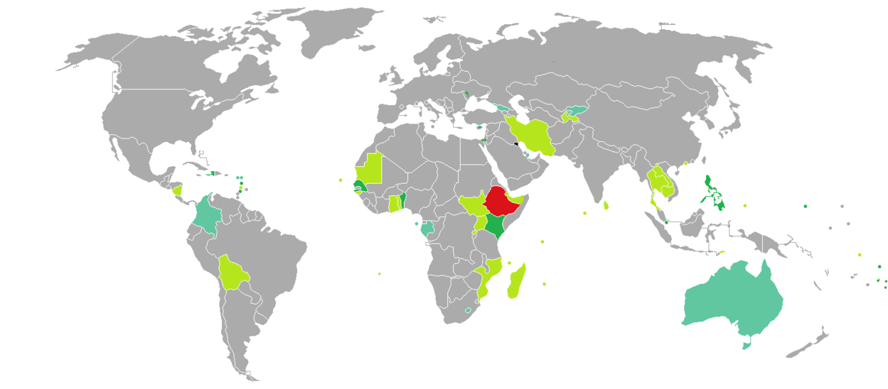 Visa requirements for Ethiopian citizens2018.png