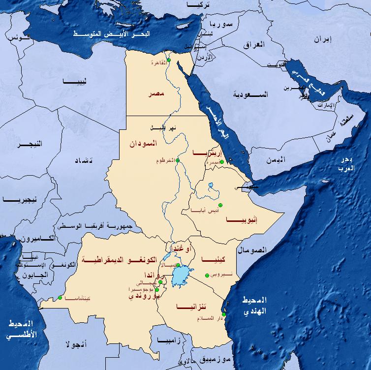 خريطة مصر والسودان