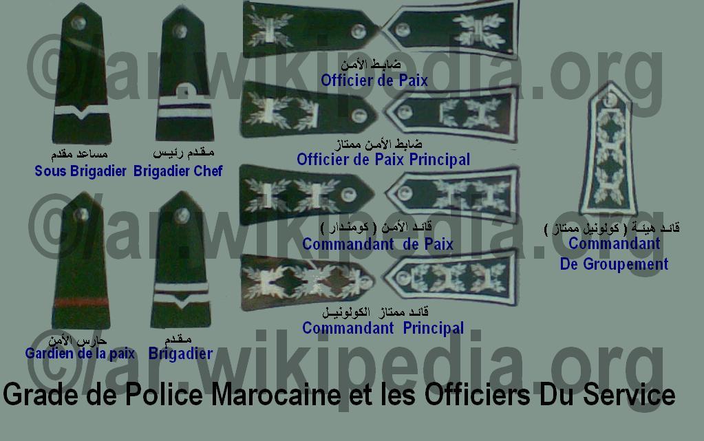 الادارة العامة للامن الوطني Direction Générale de la Sureté Nationale : المباريات و التكوين و الرتب Grade_de_police_et_Commandant