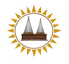الشمس كرمز مقدس في الديانة اليزيدية يتوسطها صورة للمعبد لالش