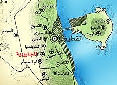 خريطة تُوضّح حدود قرية الجارودية مع القطيف وباقي القرى.