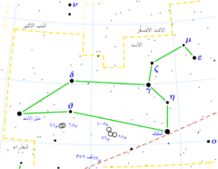 Diagram showing star positions and boundaries of the Leo constellation and its surroundings