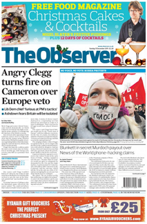"Front page of The Observer showing a cose-up photo of a woman at an anti-Kremlin rally with a ""No vote"" label over her mouth, and the headline ""Angry Clegg turns fire on Cameron over Europe veto"""
