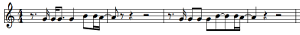 "Musical notation for the main vocal melody to ""Imagine"", by John Lennon."