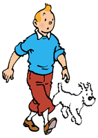 A cartoon drawing of a young man and his white dog walking against clear background.